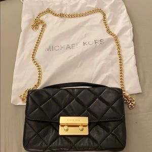 Michael Kors black leather quilted cross body